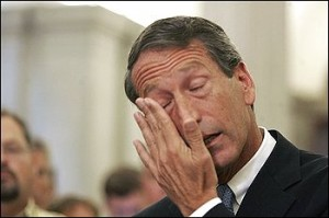 Governor Mark Sanford weeps during his press conference